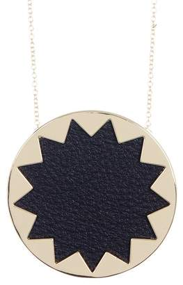 House Of Harlow Leather Detail Sunburst Pendant Necklace