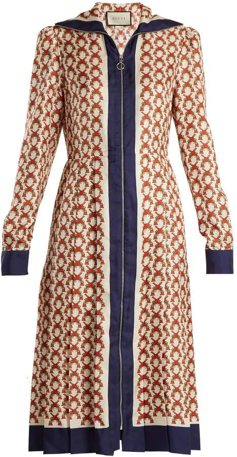 GUCCI Guns-print zip-through silk dress