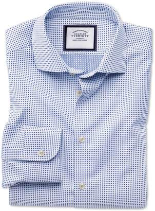Charles Tyrwhitt Extra Slim Fit Business Casual Navy Spot Egyptian Cotton Dress Shirt Single Cuff Size 17/35