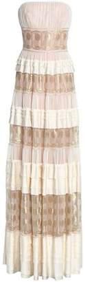 Alberta Ferretti Tiered Metallic Embroidered Tulle And Silk-Satin Gown