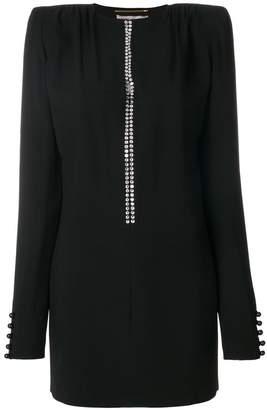 Saint Laurent plunging crystal neckline dress