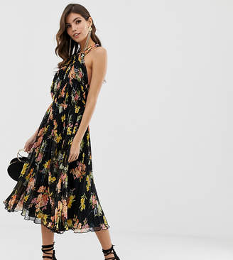 Asos DESIGN pleated bodice halter midi dress in floral print