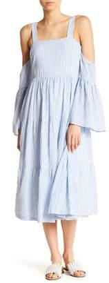 Endless Rose Striped Cold Shoulder Flounce Dress