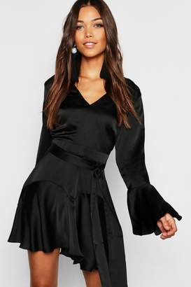 boohoo Satin Tie Waist Fit + Flare Skater Dress
