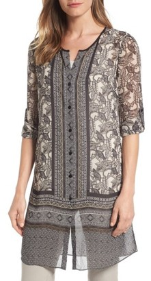 Women's Nic+Zoe Mirrored Monkeys Sheer Tunic Top $148 thestylecure.com