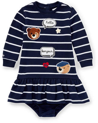 Ralph Lauren Long-Sleeve Striped Patches Dress w/ Bloomers, Size 6-24 Months