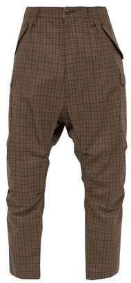 Junya Watanabe Windowpane Check Cropped Wool Trousers - Mens - Brown Multi