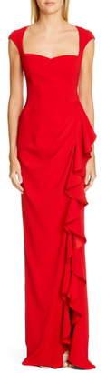 Badgley Mischka Collection Cap Sleeve Ruffle Evening Dress