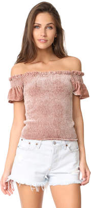 Whistles Phi Phi Smocked Velvet Top $329 thestylecure.com