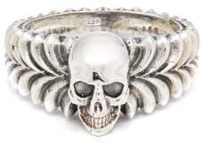 Emanuele Bicocchi Skull Centre Sterling Silver Ring - Mens - Silver