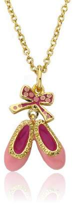 Little Miss Twin Stars Ballet Beauty 14k Gold-Plated Enamel Ballet Shoe Pendant Necklace