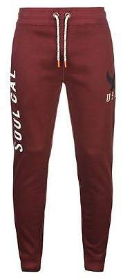Soul Cal SoulCal Mens USA Eagle Jogging Bottoms Ribbed Training Running Elastic Trousers