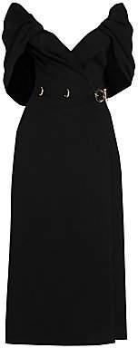 Prada Women's Wrapped Cape-Sleeve Cady Dress