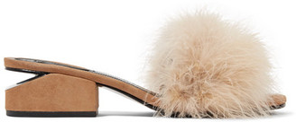 Alexander Wang - Lou Feather-embellished Suede Mules - Tan $495 thestylecure.com