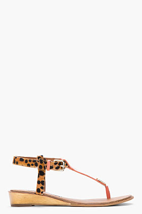 Diane von Furstenberg Coral & Cheetah Printed Calf-Hair Dion Mini-Wedge Sandals