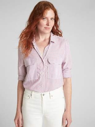 Gap Stripe Utility Pocket Boyfriend Shirt