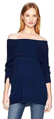 Halston Women's Long Sleeve Foldover Off Shoulder Sweater