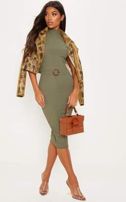 PrettyLittleThing Khaki High Neck Belt Detail Midi Dress