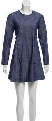 Piamita Ruffle-Accented Chambray Dress w/ Tags