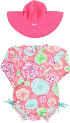 RuffleButts Tropical Garden One-Piece Rashguard Swimsuit & Reversible Sun Hat Set