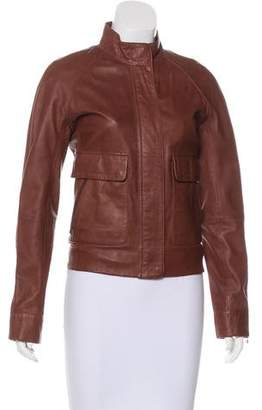 Lacoste Zip-Accented Leather Jacket