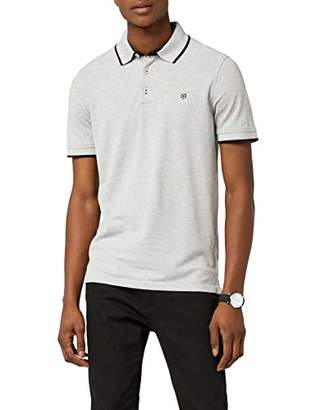 Jack and Jones Men's Paulos Polo Shirt, (Light Grey Melange)