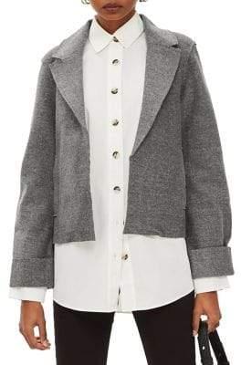 Topshop Cropped Jersey Blazer