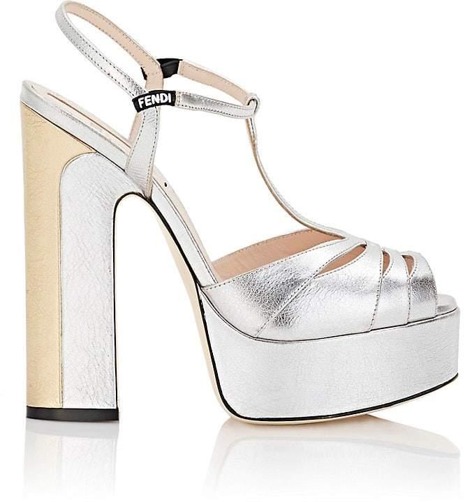 Fendi Women's Metallic Leather T-Strap Platform Sandals
