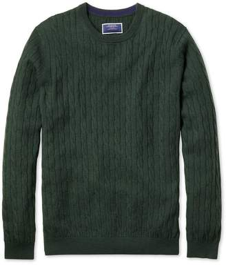 Charles Tyrwhitt Green Crew Neck Lambswool Cable Knit Sweater Size XXL
