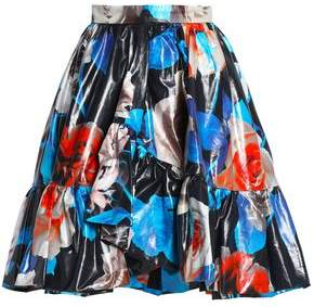 MSGM Ruffled Floral-Print Coated-Cotton Skirt