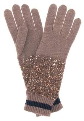 Brunello Cucinelli Sequined cashmere and silk gloves