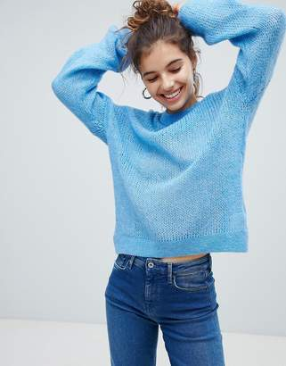 Bershka loose knit jumper in blue