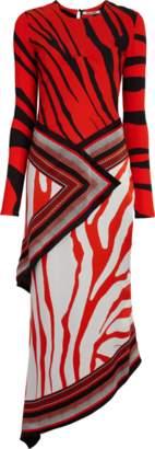 Roberto Cavalli Long Sleeve Silk Satin Dress