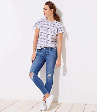 LOFT Modern Step Hem Skinny Jeans in Light Vintage Wash