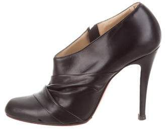 Christian Louboutin Ruched Leather Ankle Booties