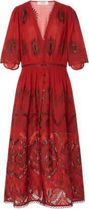 Sea Three Quarter Sleeves Smocked Dress