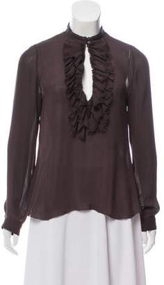 L'Agence Ruffle-Accented Blouse