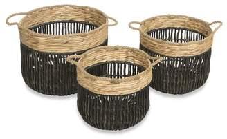 Laundry by Shelli Segal Set of 3 Farrel Twisted Water Hyacinth Hamper Baskets