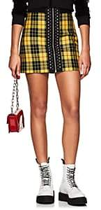 Palm Angels Women's Studded Plaid Wool High-Rise Miniskirt-Yellow