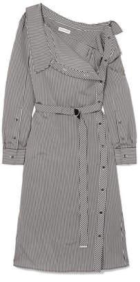 Altuzarra Albany Oversized Striped Twill Midi Dress - Black
