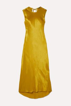 Ann Demeulemeester Frayed Hammered-satin Maxi Dress - Gold