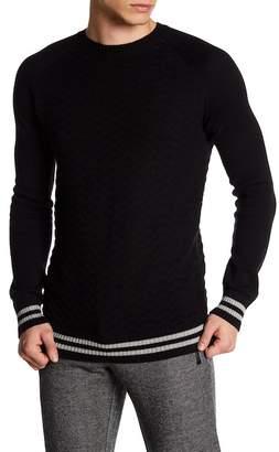 Parke & Ronen Textured Knit Stripe Cuff and Hem Sweater