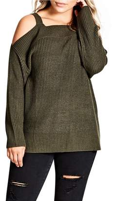 City Chic Off the Shoulder Sweater