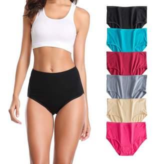 65fb05c8dcc U Angela Women's Cotton Underwear High Waist Panties Plus Size Briefs Panty  -6 Pack (