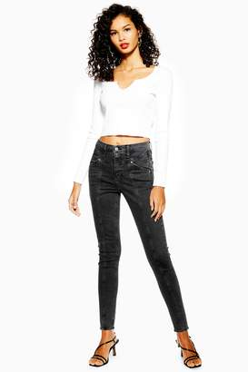 Topshop Womens Washed Black Panel Jamie Jeans - Washed Black