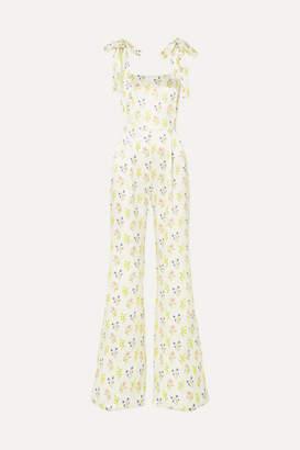 Seren - Fletcher Floral-print Silk-satin Jumpsuit - White