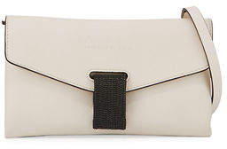 Brunello Cucinelli Leather Flap Monili-Tab Crossbody Bag