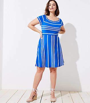 LOFT Plus Striped Crossover Back Flare Dress