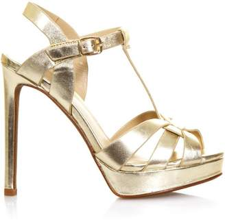 Lola Cruz High Gold Leather Sandals