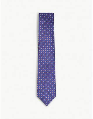 HOLIDAY & BROWN Grid-patterned mini floral print silk tie